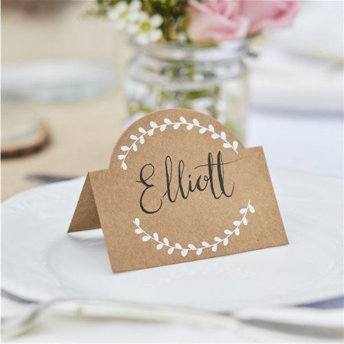 Rustic Country Kraft and White Vine Place Cards (10pk)